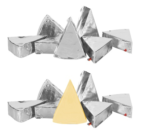 chees: piece of cheese in foil isolated on a white background