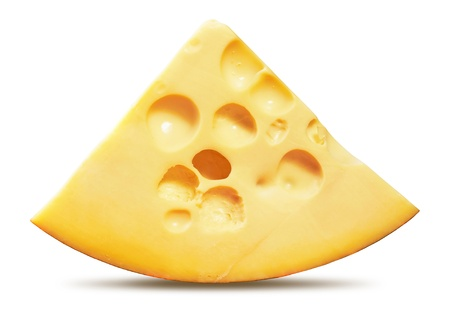 chees: piece of cheese isolated on a white background Stock Photo