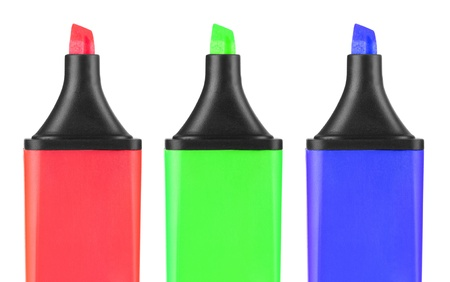 A set of color highlighters, isolated on white background photo