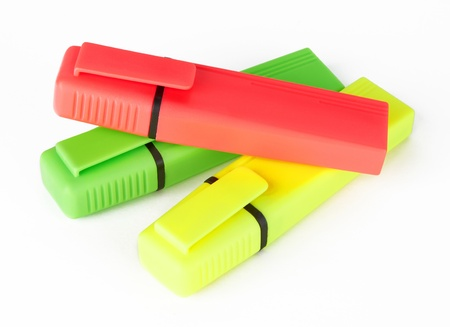 A set of color highlighters on white background photo