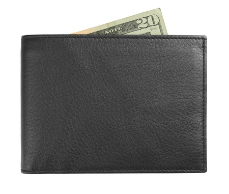 black leather wallet with money isolated on white background photo