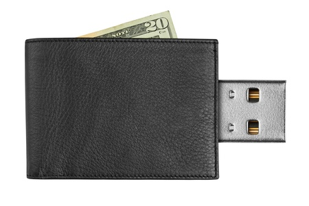 black leather wallet with USB connector, isolated on white background photo