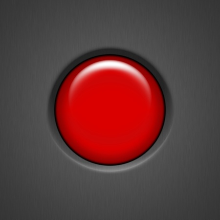 alarm button: Red Launch Button on dark Stock Photo