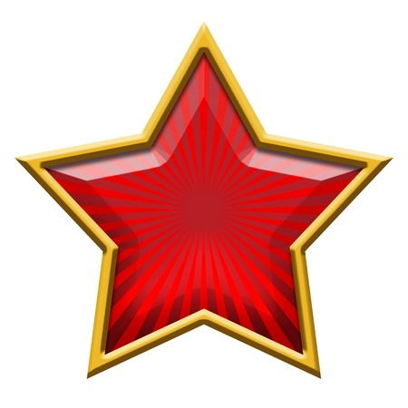 Red Star in Gold, isolated on white  photo