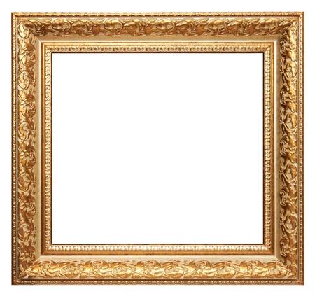 objetos cuadrados: marco de la imagen de oro aislado en blanco