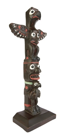 Totem Pole isolated on white background photo