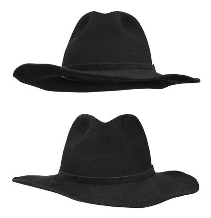 stetson: Black hat isolated on white background Stock Photo