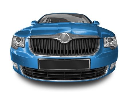 blue car isolated on white background photo