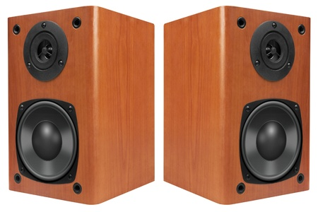 Wood Loud Speakers Isolated on White photo