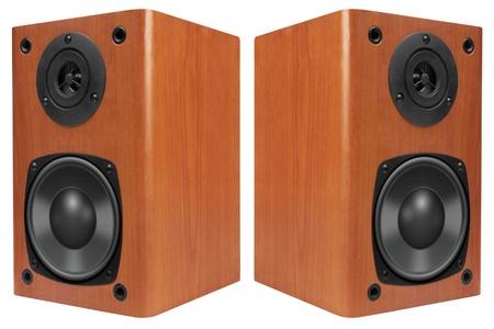 thundering: Wood Loud Speakers Isolated on White