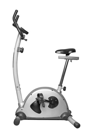 static bike: Bicycle exercise machine isolated on white