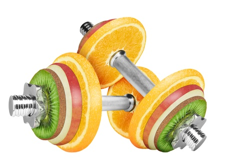 Fruit dumbbell isolated on white background. With clipping path