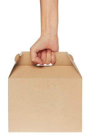 packer: cardboard box in hand isolated on white background