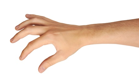 reaching hand: male hand and arm reaching for something isolated on white Stock Photo