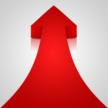 upwards: Red arrow on white background