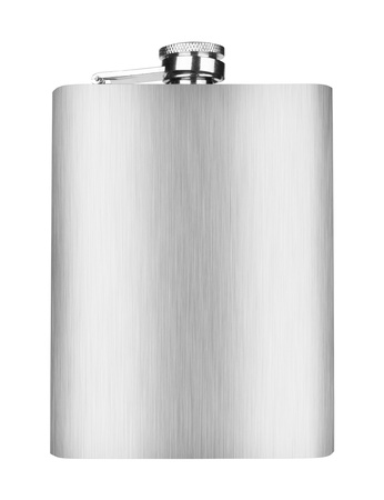 Stainless hip flask isolated on white photo