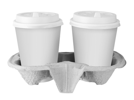 Two White Paper Cup isolated on white photo