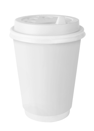 disposable: White Paper Cup isolated on white