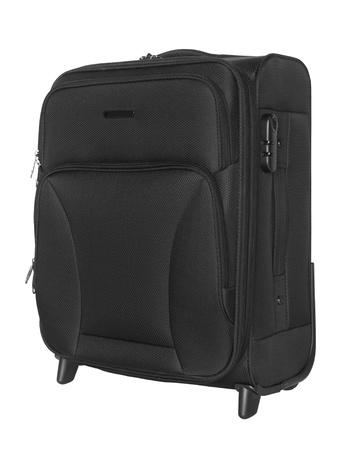 black grip: Black suitcase isolated on white background