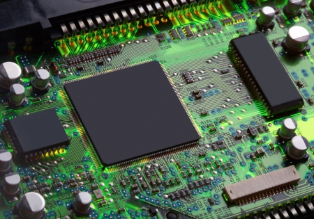 Closeup of electronic circuit board with processor Stock fotó