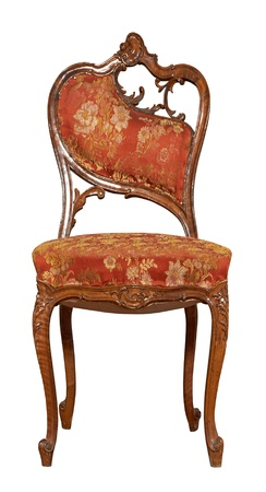 antique furniture: Vintage Chair isolated on white background Stock Photo