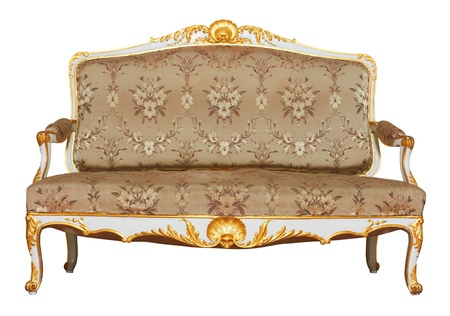 antique furniture: Vintage Sofa isolated on white background Stock Photo