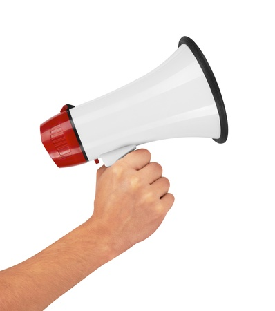 Megaphone in hand, isolated on white background
