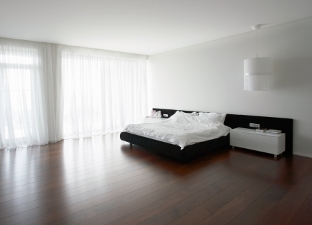 Double bed in the modern bedroom