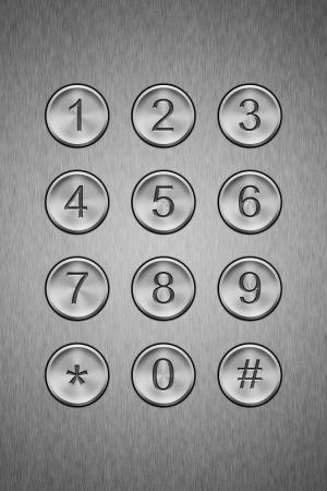 entry numbers: Metal keypad, close up