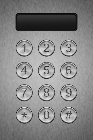 entry numbers: Metal keypad with display, close up