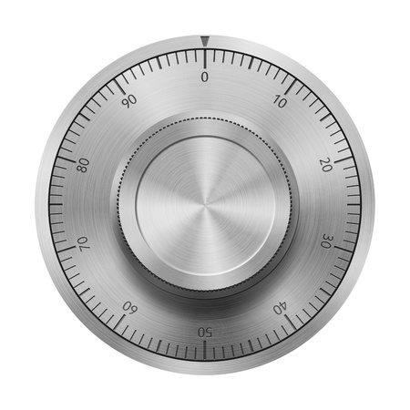 Safe combination lock wheel, isolated on white