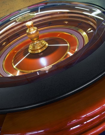 wager: Casino Roulette wheel rotation, closeup Stock Photo