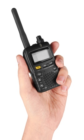 cb phone: Portable radio transceiver in hand, isolated on white background