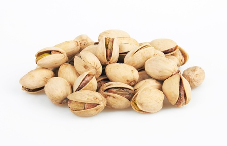 pistachios heap isolated on white background