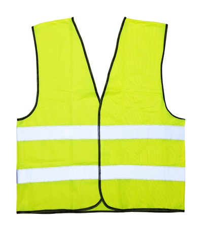 construction safety: Yellow vest isolated on the white background