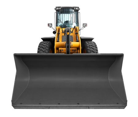 bulldozer isolated on white background photo