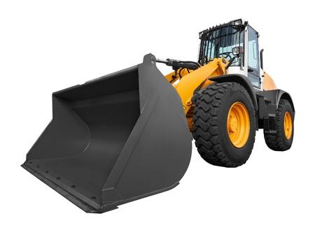 mining truck: bulldozer aislado en fondo blanco