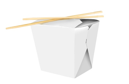 takeout: Blank Chinese food container isolated on white background Stock Photo