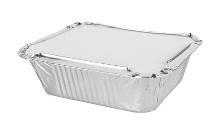 foil trays for food on a white background photo