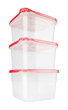 tupperware: Plastic container for food isolated on white Stock Photo