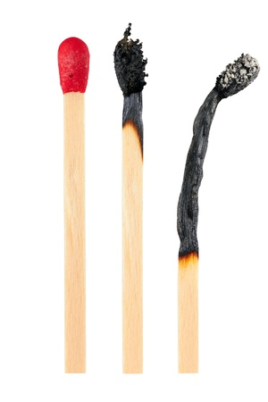 matchstick: Set of burnt match at different stages isolated on white background