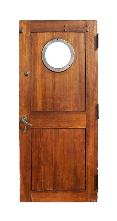 Door on ship, isolated on white photo