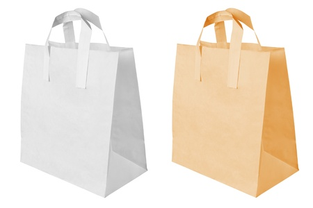 white paper bag: Paper bag isolated on white background Stock Photo
