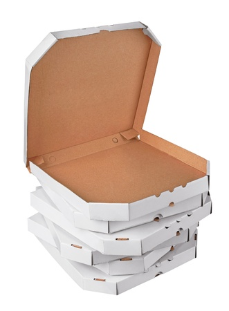 Pizza boxes, isolated on white background photo
