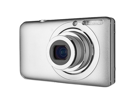compact camera: Digital camera isolated on white background