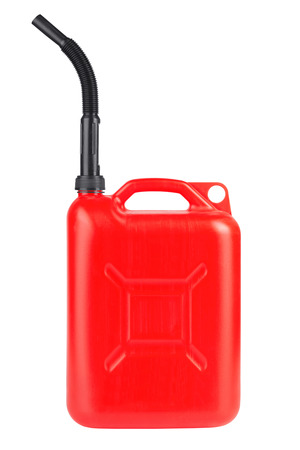 petrol can: Red jerrycan isolated on white background
