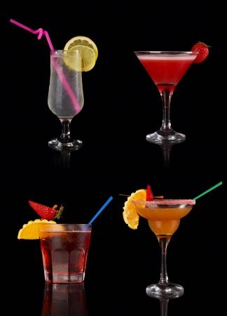gin: Set of alcoholic cocktails on black background Stock Photo