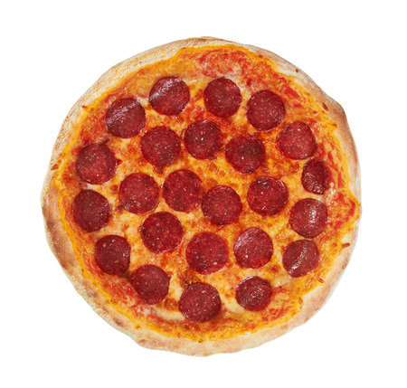 Pepperoni Pizza from the top, isolated on white  Standard-Bild