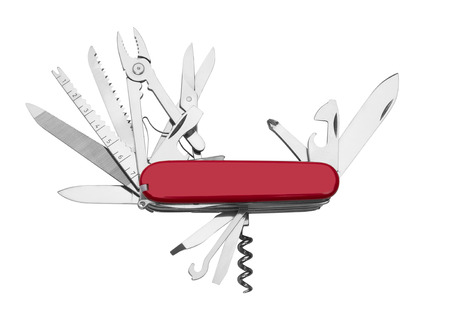 Red Army Knife multi-tool, isolated on white