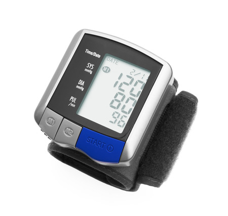 sphygmomanometer: Digital blood pressure wrist tonometer isolated on a white